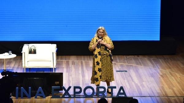Carrió habló en el evento Argentina Exporta, unos minutos antes de que llegara Mauricio Macri