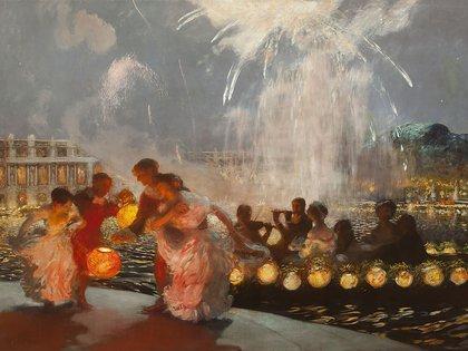 """""""El festival alegre"""" (1906), de Gaston La Touche. Oleo sobre lienzo (208 x 287 cm), en la Dixon Gallery & Gardens, de Memphis EE.UU."""