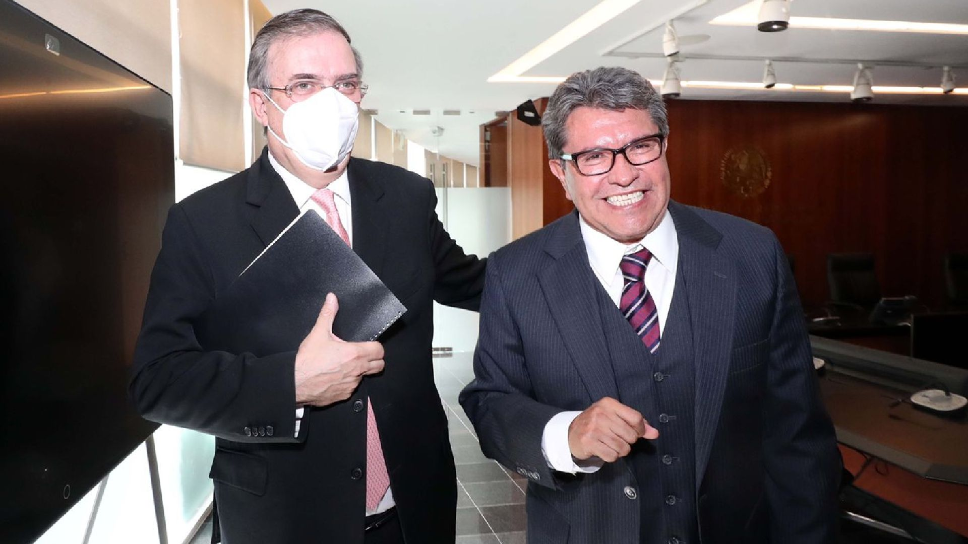 Marcelo Ebrard y Ricardo Monreal fueron cuestionados sobre las elecciones del 2024 (Foto: Twitter / @SRE_mx)
