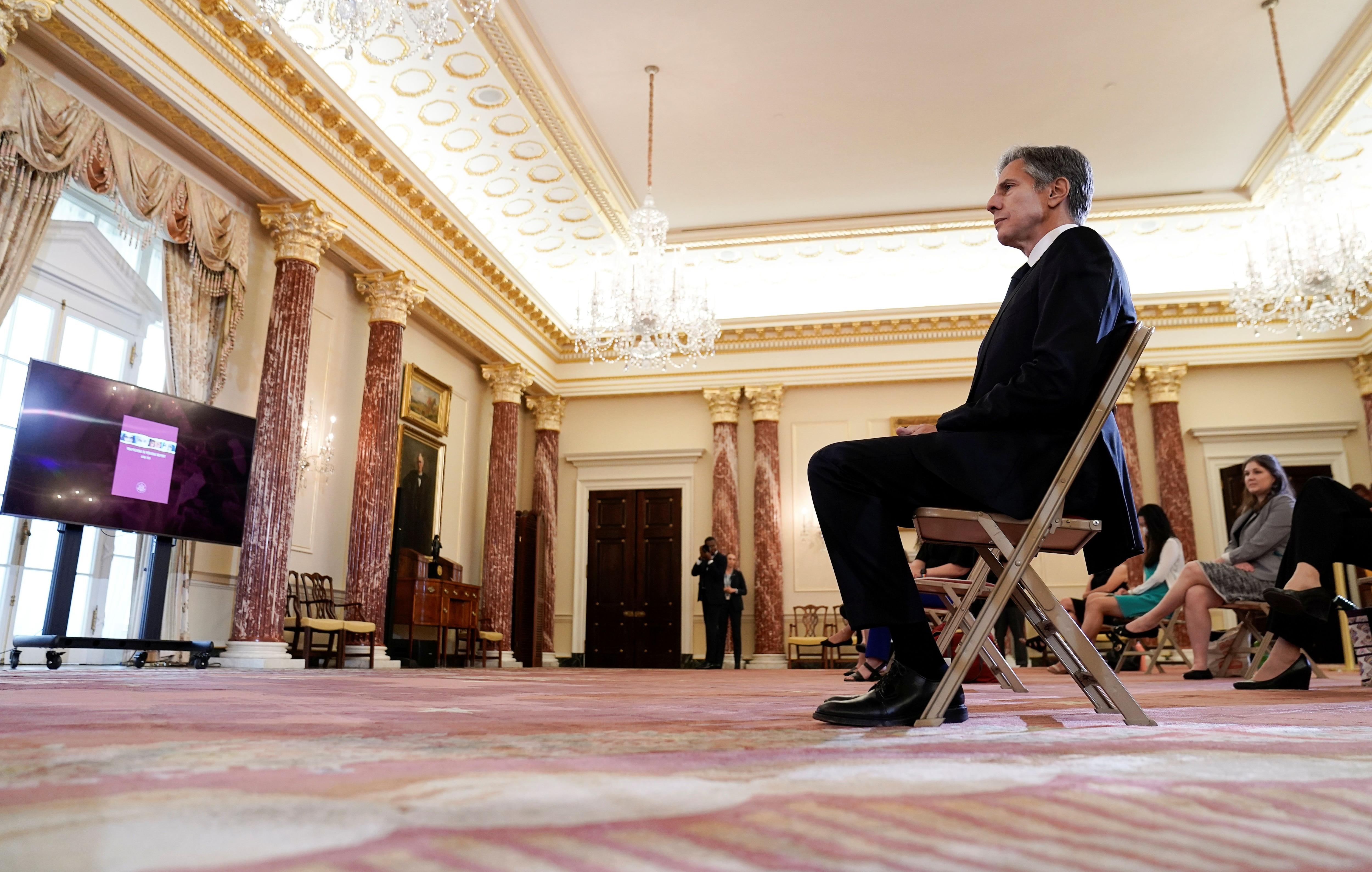 Antony Blinken en el departamento de Estado, Estados Unidos. REUTERS/Ken Cedeno/Pool