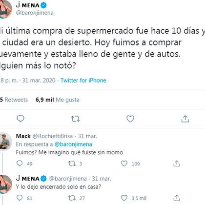 Jimena Barón fue cuestionada por llevar a su hijo al supermercado (Twitter)