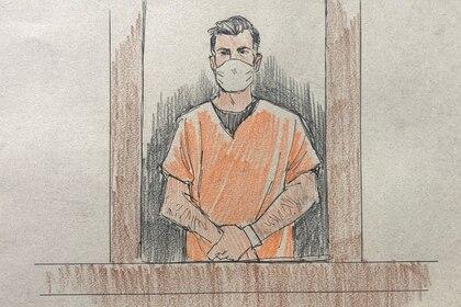 Thomas Lane durante su comparencia ante el juez. Cedric Hohnstadt Illustration via REUTERS.