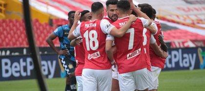 Independiente Santa Fe enfrenta a Deportes Tolima. Foto cortesía de Dimayor.