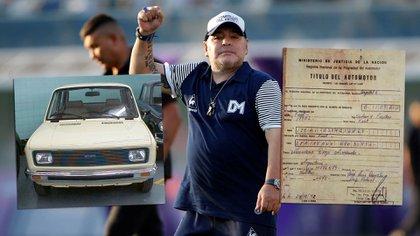 Diego, con la imagen actual de su ex auto y el título de propiedad