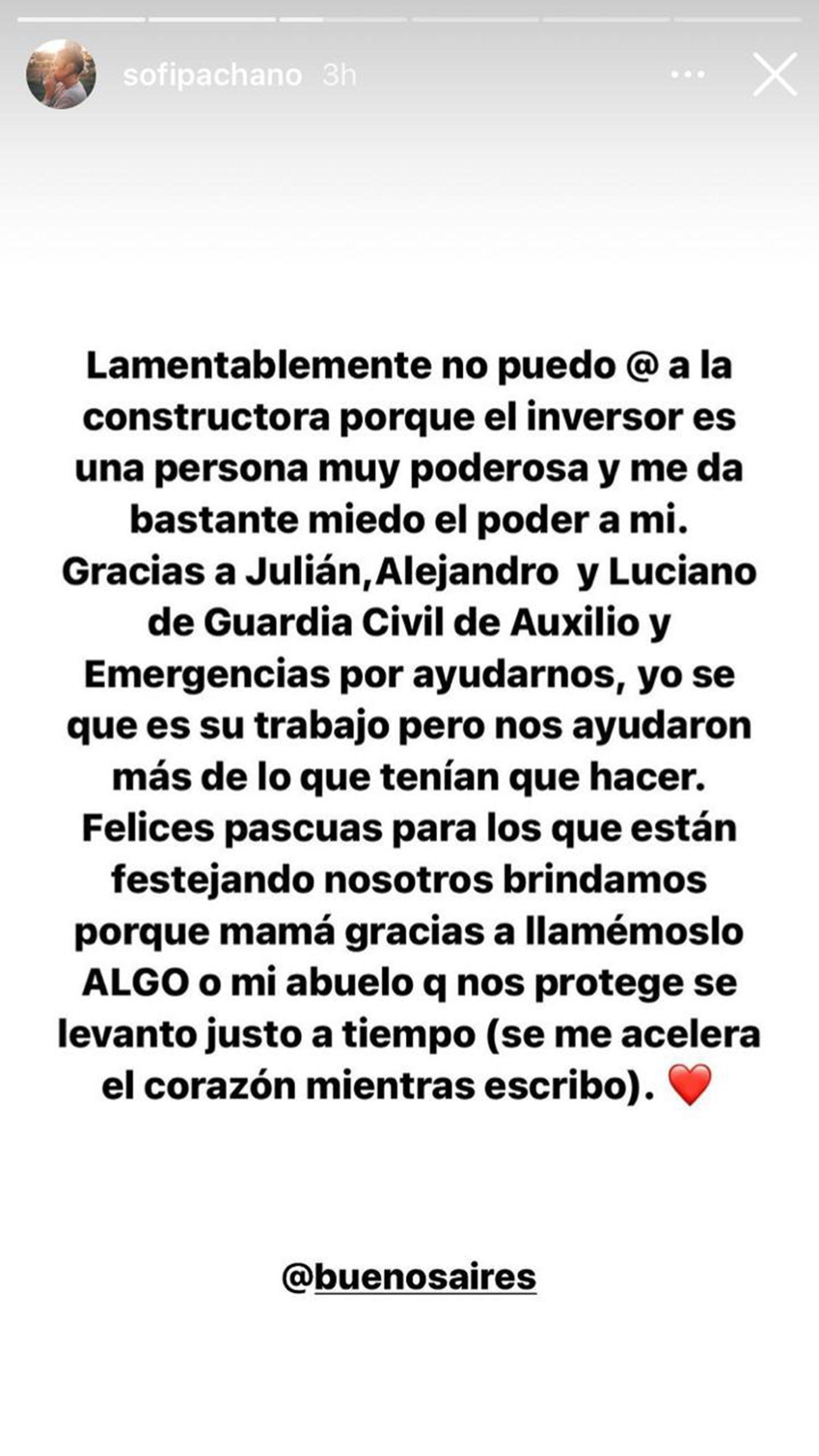 Sofía Pachano contó que se desprendió el techo del dormitorio de su mamá por una obra