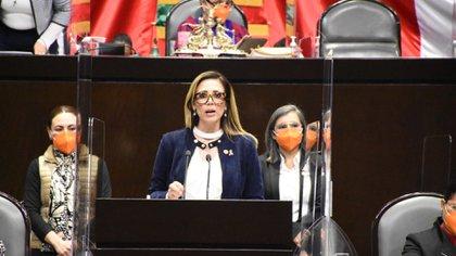 La diputada Fabiola Loya, hasta ahora vicecoordinadora de la bancada, tomará las riendas del grupo parlamentario de MC (Foto: Twitter @FabiolaLoyaMC)