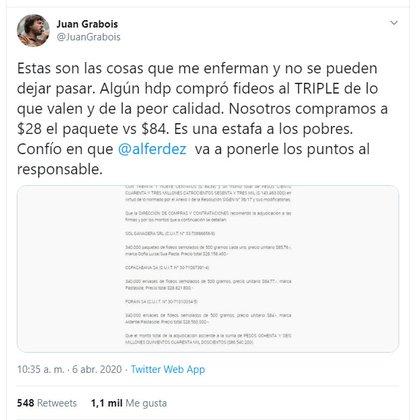 El tuit de Juan Grabois