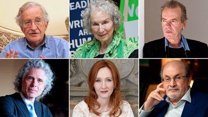Algunos de los 153 firmantes de la carta en Harper's: Noam Chomsky, Margaret Atwood y Martin Amis (arr.); Steven Pinker, J.K. Rowling y Salman Rushdie.