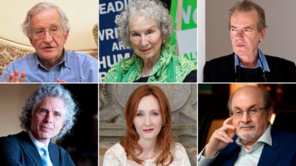 Arriba: Noam Chomsky , Margaret Atwood y Martin Amis; abajo: Steven Pinker, J.K. Rowling y Salman Rushdie, algunos de los firmantes