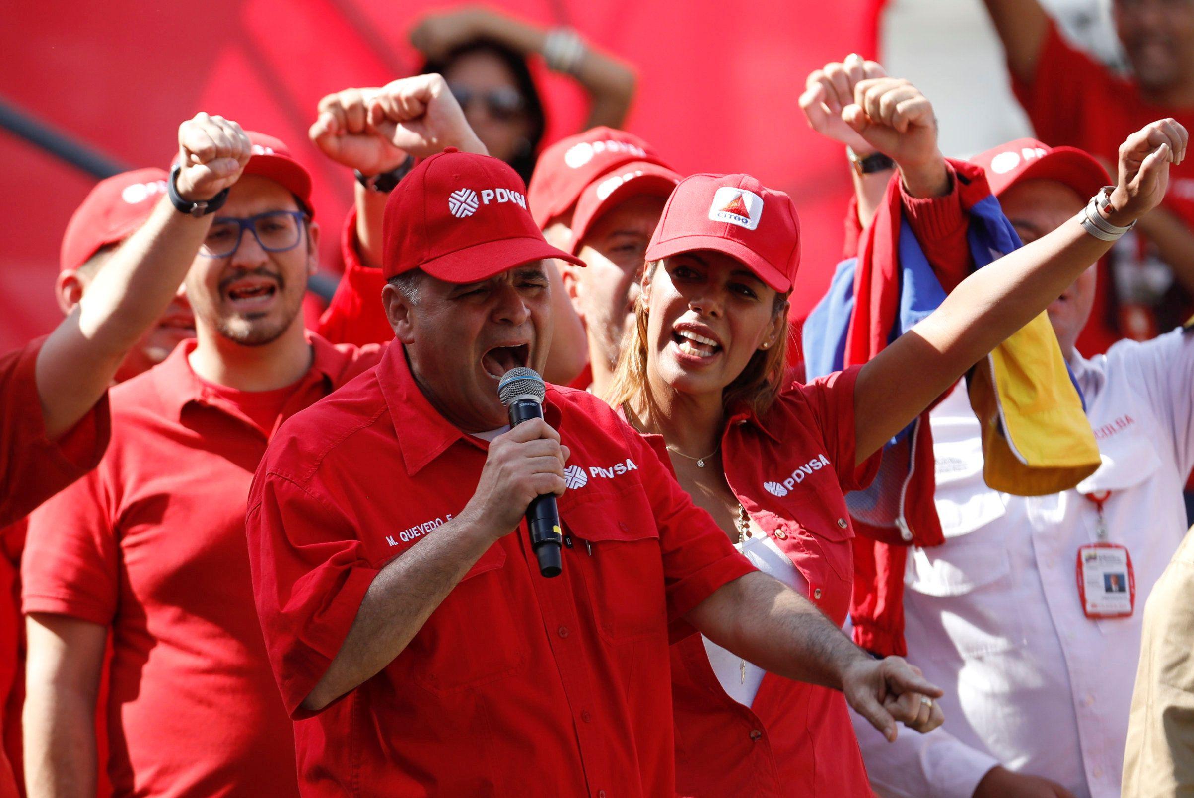 El Ministro de Petróleo de Venezuela y Presidente de PDVSA Manuel Quevedo habla durante un mitin en apoyo de la empresa estatal de petróleo PDVSA en Caracas, Venezuela el 31 de enero de 2019. (REUTERS)