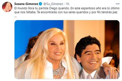 El mensaje de Susana Gimenez por la partida de Diego Maradona