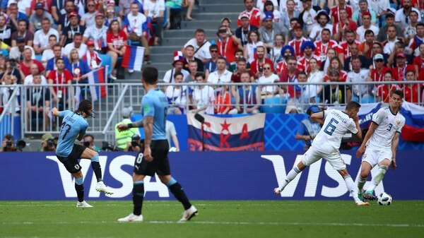 Soccer Football – World Cup – Group A – Uruguay vs Russia – Samara Arena, Samara, Russia – June 25, 2018 Uruguay's Diego Laxalt scores their second goal REUTERS/Michael Dalder