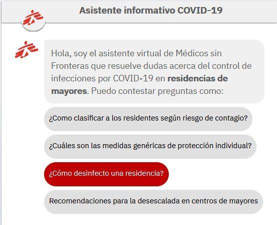 28/07/2020 Asistente virtual con información sobre la Covid-19 para las residencias de mayores POLITICA INVESTIGACIÓN Y TECNOLOGÍA IBM/MSF