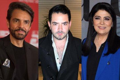 Eugenio Derbez, José Eduardo Derbez y Victoria Ruffo (Foto: Cuartoscuro/Instagram@jose_eduardo92)