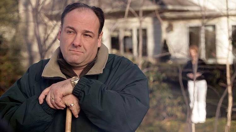 Tony Soprano con su casa de fondo
