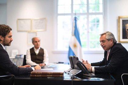 El presidente Alberto Fernández y el jefe de Gabinete, Santiago Cafiero
