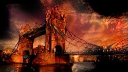 El Puente de la Torre (Londres), estilo infierno. El algoritmo extrae elementos, como una paleta negra magullada o plantillas aterradoras y las implanta en los puntos de referencia. Imagen: MIT