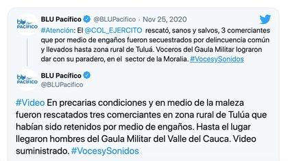 Rescate del Gaula Militar a secuestrados en zona rural de Tuluá, Valle del Cauca / (Twitter: @BLUPacifico).