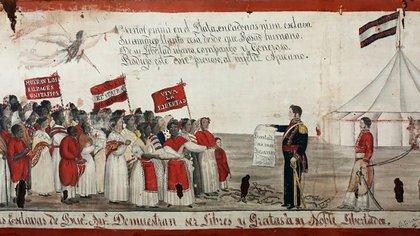 Esclavas liberadas por Rosas; óleo del año 1841