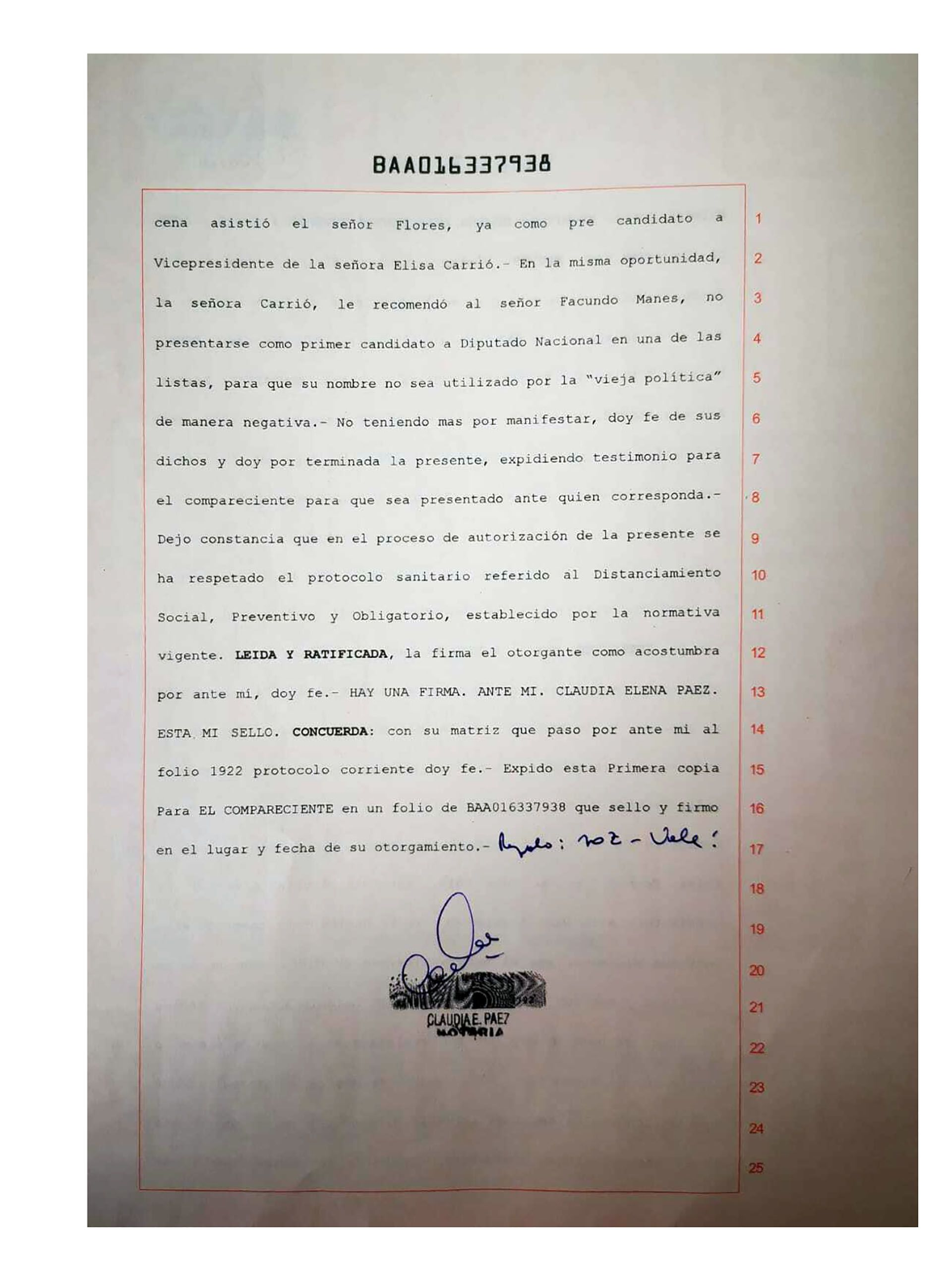 Declaración de Toty Flores sobre Facundo Manes