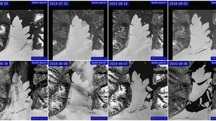 Una imagen combinada muestra imágenes de satélite de la desintegración del glaciar Spalte entre 2013 y 2020. (EU Copernicus y GEUS/REUTERS)
