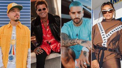 J Balvin, Carlos Vives, Maluma y Karol G. Fotos: Instagram de los artistas.
