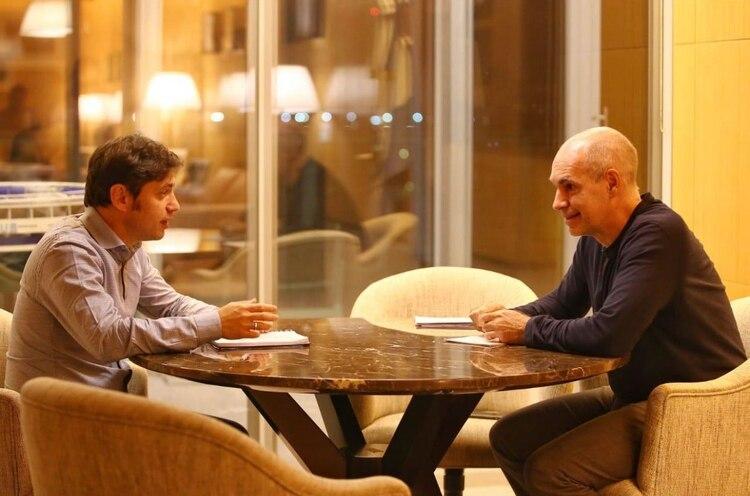 Axel Kicillof y Horacio Rodríguez Larreta, reunidos ayer en la sede del gobierno porteño.