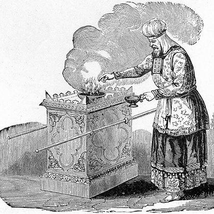 Una ilustración antigua muestra a un sacerdote de Jerusalén sobre incienso en el altar del templo ancestral de Jerusalén