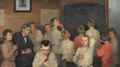 """Detalle de """"Cálculo mental"""" (1895) de Nikolay Bogdanov-Belsky"""