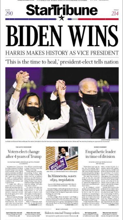 """Biden gana""Destacados Minneapolis Star Tribune"
