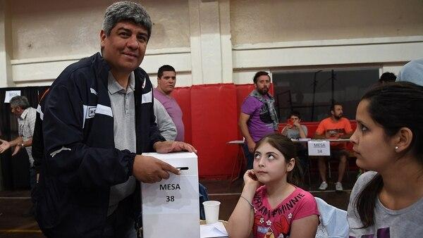 Pablo Moyano, durante las últimas elecciones en Independiente (Telam)