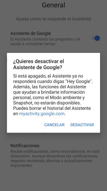 Es posible borrar actividad del asistente de Google