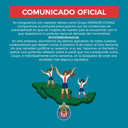 Chivas se sumó al paro de mujeres convocado para el 9 de marzo (Foto: Twitter@ChivasFemenil)