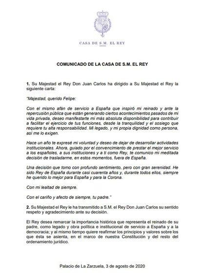 El comunicado de la Casa Real sobre el exilio del ex rey Juan Carlos I de España
