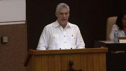 El presidente cubano Miguel Díaz-Canel durante la aprobación del anteproyecto de la nueva Constitución cubana