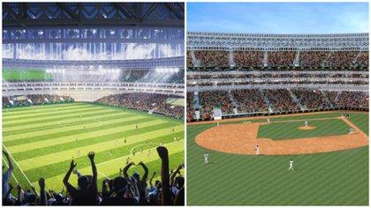 Las gradas del inmueble podrán girar para que la cancha de fútbol se transforme en un diamante de béisbol (Foto: Estadio de Yucatán)
