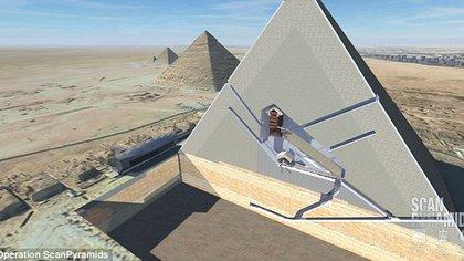 El dibujo transversal presentado por ScanPyramids, el grupo de científicos que halló las nuevas cavidades secretas