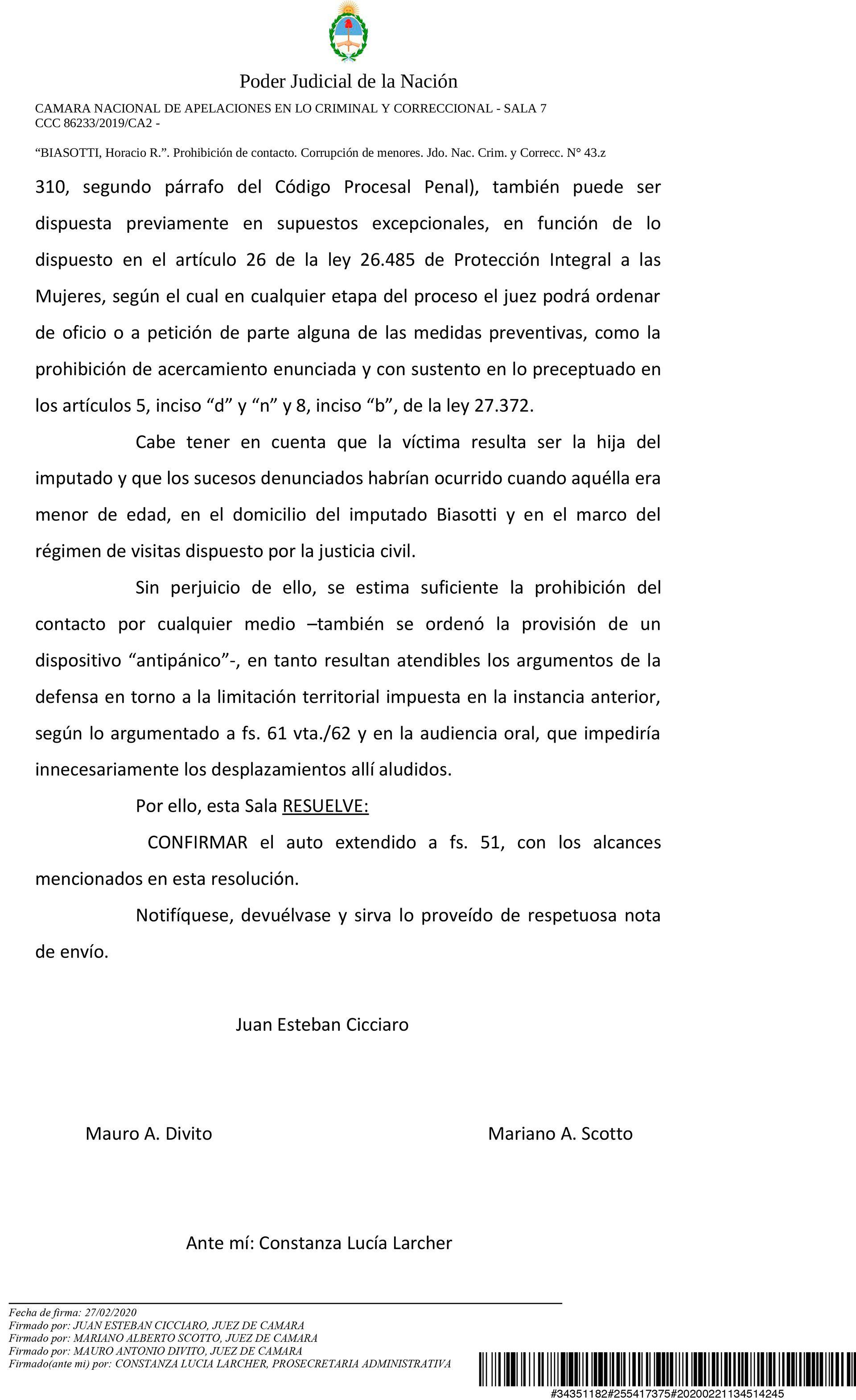 La resolución de la Cámara Nacional de Apelaciones