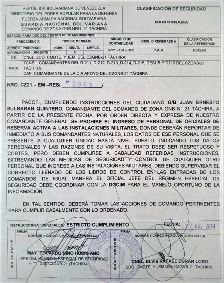 La orden de restricción de ingreso para militares retirados