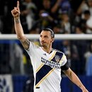 Apr 13, 2019; Carson, CA, USA; Los Angeles Galaxy forward Zlatan Ibrahimovic (9) celebrates after scoring on a penalty kick past Philadelphia Union goalkeeper Matt Freese (1) in the first half of the game at StubHub Center. Mandatory Credit: Jayne Kamin-Oncea-USA TODAY Sports