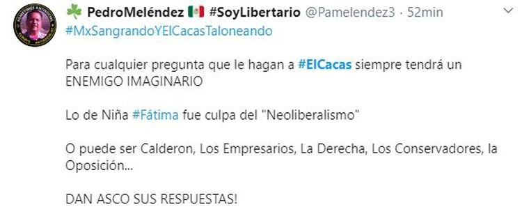 Percepción AMLO twitter @Pamelendez3