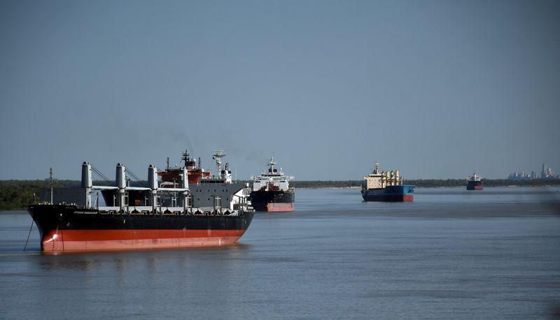 Barcos varados sobre el Río Paraná a la espera de cargar mercadería en los puertos del Gran Rosario, hoy afectados por la medida de fuerza (Reuters)