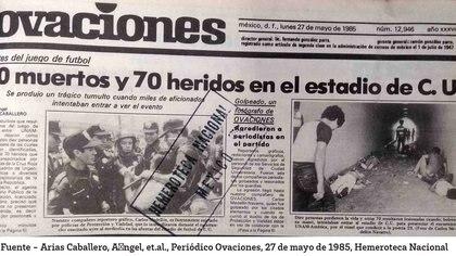Periódico Ovaciones tras la tragedia del túnel 29 en el Estadio Olímpico Ciudad Universitaria (Foto: Cortesía Ovaciones)