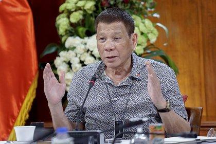 El presidente filipino Rodrigo Duterte durante una conferencia de prensa sobre el coronavirus este dominngo en Manila (King Rodriguez/Malacanang Presidential Photographers Division via AP)