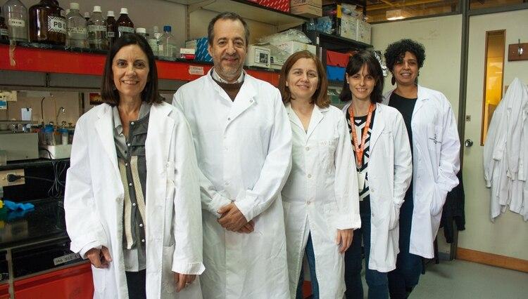 Los autores del avance: Carina Ferrari (izq.), Fernando Pitossi, María Celeste Leal, Berenice Silva, y María Isabel Farías (Agencia CyTA-Fundación Leloir)