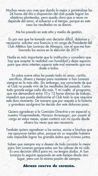 El comunicado de Marcelo Tinelli