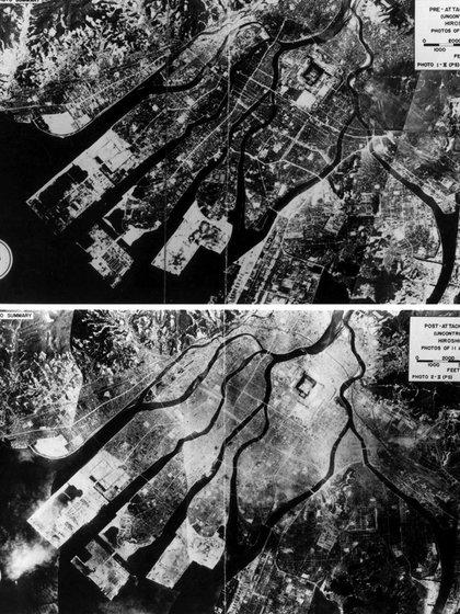 Fotografías aéreas de Hiroshima, Japón, tomadas en abril de 1945 antes del lanzamiento de la bomba atómica y, en agosto de 1945 después del bombardeo, muestran el alcance de la devastación en la ciudad (REUTERS/Archivos Nacionales EEUU)
