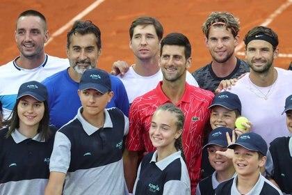 Viktor Troicki, Novak Djokovic, Dominic Thiem y Grigor Dimitrov en el Adria Tour (REUTERS)