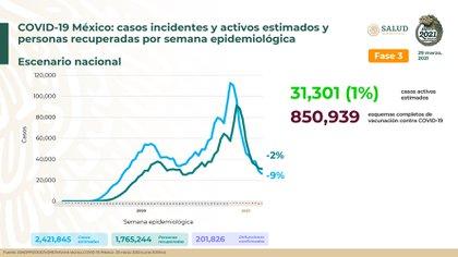 Información de los casos confirmados hasta el día de hoy (Foto: SSA)