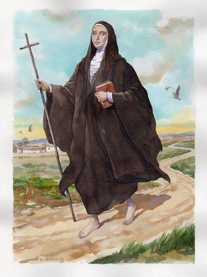 """María Antonia de Paz y Figueroa, """"Mama Antula"""", beatificada en agosto de 2016 (acuarela de Enrique Breccia)"""